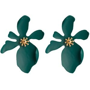 *FERENTINA* Green Irregular Flower Stud Earrings